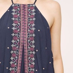 Anthropologie Midnight Flower Swing Tank Floreat